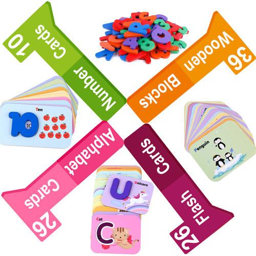 Alphabet Flash Cards Games with Wooden Number ABC Letters