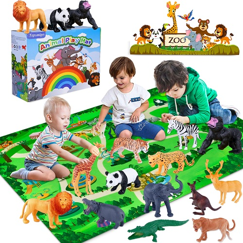TEPSMIGO Animals Figurines Toys, Realistic Safari Animals Figurines with Play Mat-Jungle Series