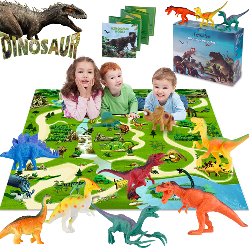 TEPSMIGO Dinosaur Toys Playset with Jurassic Play Mat